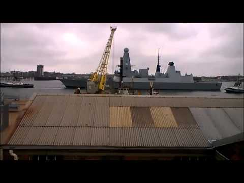 HMS Diamond Sailing from Portsmouth (type 45 destroyer D34)
