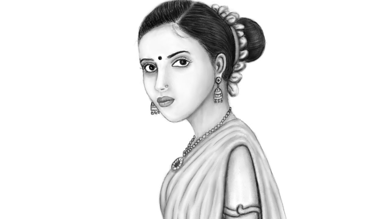 Pencil sketch beautiful woman in traditional dress how to draw mypaint drawing