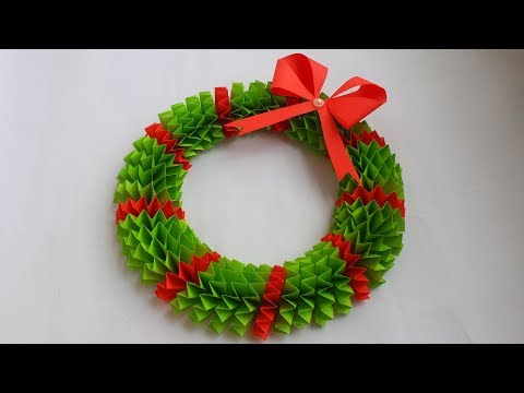 DIY: Paper Christmas Wreath for Christmas Decoration!!! How to Make Beautiful Christmas Wreath!!!