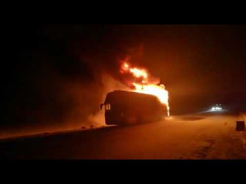 Автобус «Иркутск – Усть-Илимск» сгорел на трассе под Тулуном