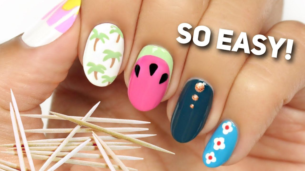 Nail Art For Beginners Using A Toothpick 2 Youtube