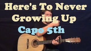 Here's To Never Growing Up (Avril Lavigne) Guitar Lesson Easy Strum Chord How to Play Tutorial