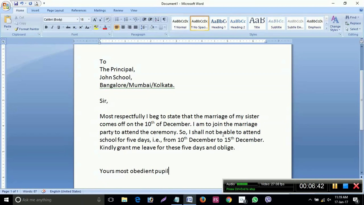 How to write an application to the principal to grant leave youtube how to write an application to the principal to grant leave spiritdancerdesigns Image collections