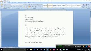 How to write an application to the principal to grant leave