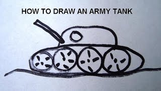 how to draw an army tank, learn to draw for boys, free video art lessons