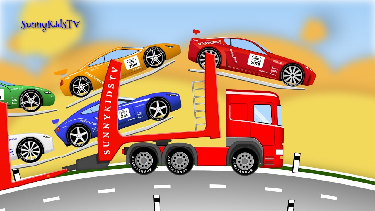 cars and trucks for kids learn numbers car transporter car carrier bus truck cartoon youtube