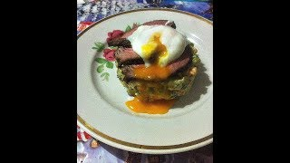 Рецепт салата Оливье с ростбифом и яйцом пашот