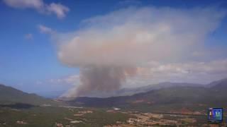 incendie sur Propriano à Capu Laurosu visible depuis Sartene en Corse du Sud dans le Valinco