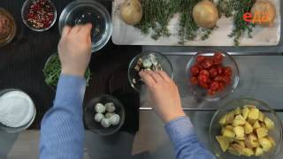 Картофельный салат с печенью трески