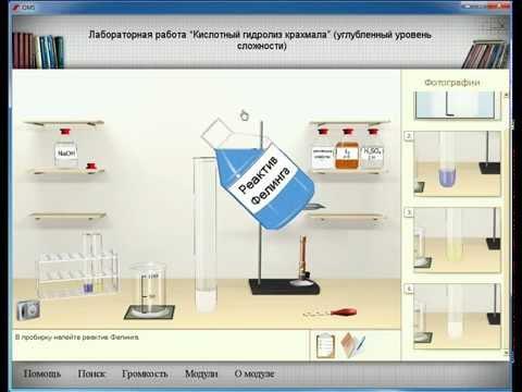 """Электронный курс """"Химия.  Виртуальная лаборатория"""" Опыт """"Кислотный гидролиз крахмала"""""""
