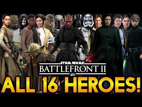 ALL 16 HEROES & SKINS! Star Wars Battlefront 2 (So Far)