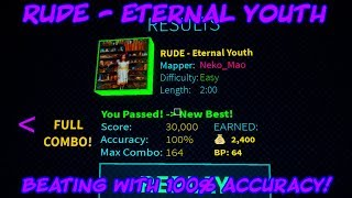 Beating RUDE - ETERNAL YOUTH with 100% ACCURACY! (Roblox Blox Saber)