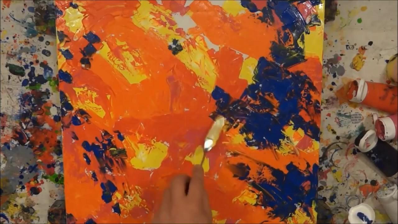 tutorial abstrakte kunst (2) - wir malen ein bild - acryl spachtel