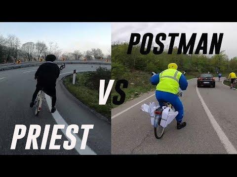 PRIEST VS POSTMAN. Priest  on Graziella or POSTMAN on bike