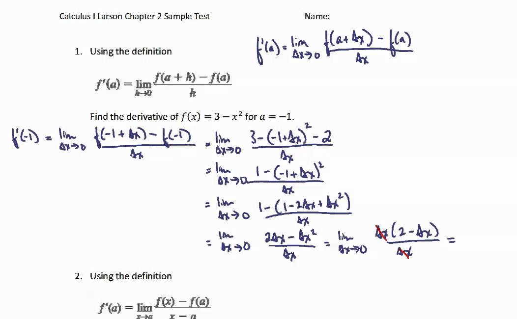 Derivatives Review - Limit Definition of the Derivative (and ...