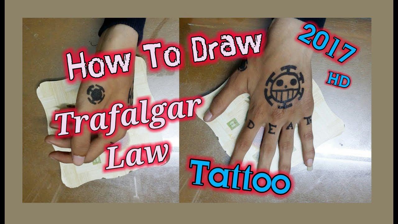 One Piece Hand Tattoo: Trafalgar Law (One Piece) -Tattoo _ Speed Drawing 2017 HD