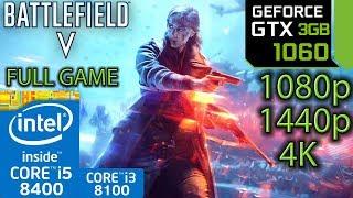 Battlefield V / 5 Full Game - GTX 1060 3gb - i5 8400 - i3 8100 - 1080p - 1440p - 4K - UltraWide