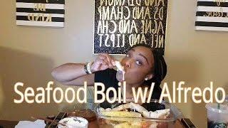 King Crab &amp Colossal Mega Shrimp Seafood Boil w Alfredo Sauce :: Mukbang