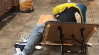 QUEENZFLIP - JUMPING THROUGH TABLES IN POPEYES!!!