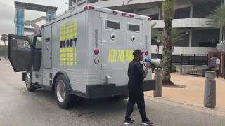 WATCH: Jalen Ramsey arrives at 2019 Jaguars training camp in armored truck filled with 'bags of mone
