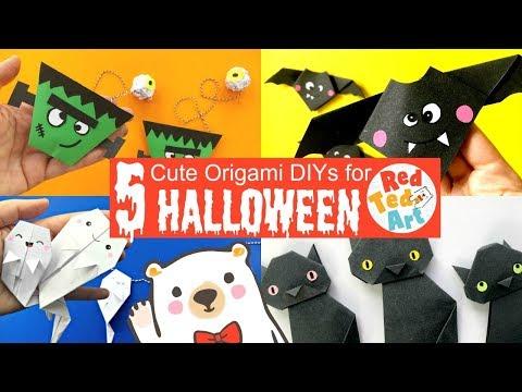5 EASY HALLOWEEN ORIGAMI DIYs - Spookily Cute Halloween Paper Crafts & Room Decor