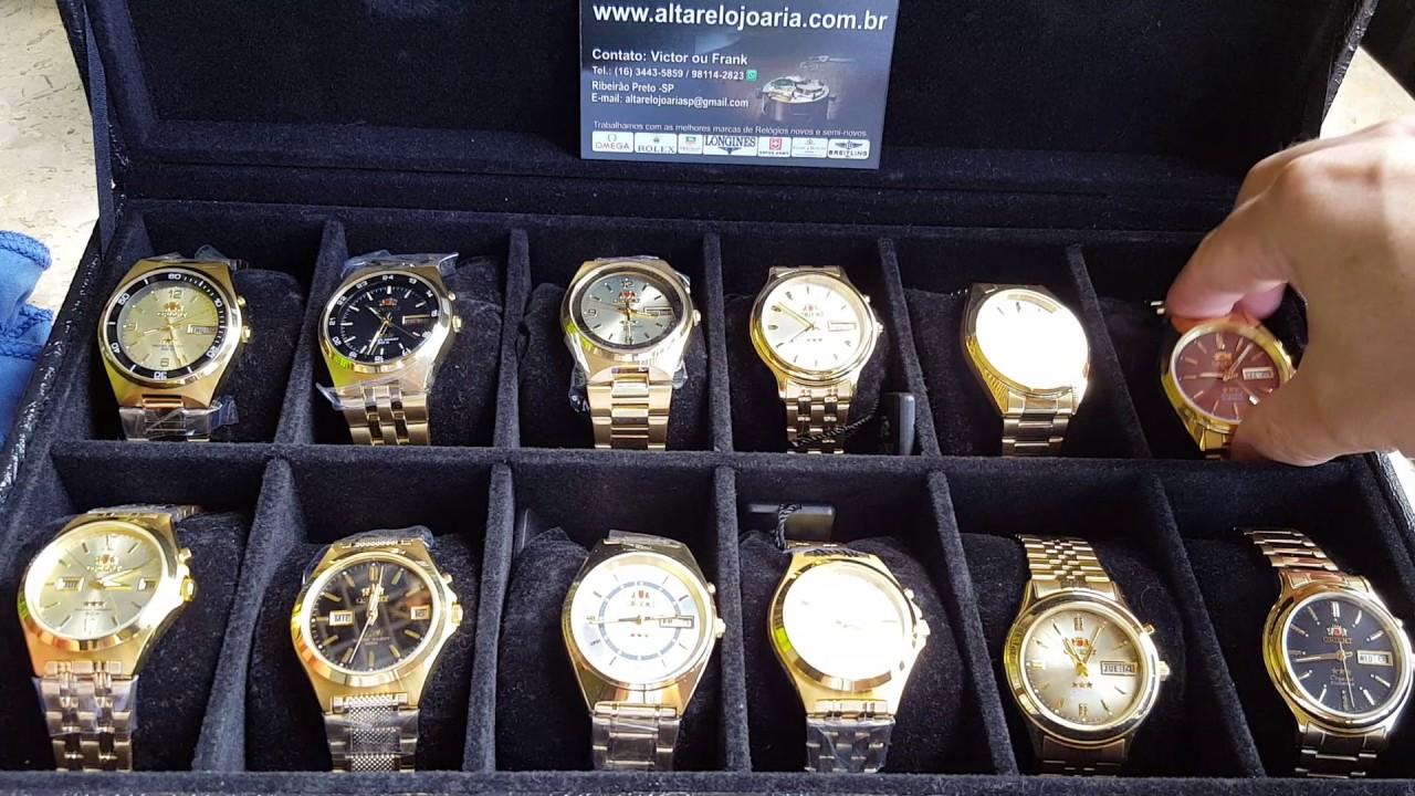 f6345eca494 Relógio Orient Clássico Automático Plaque Ouro Calendario - YouTube