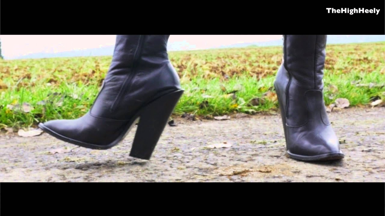 6inch High Heel Cowboyboots walking outdoor - YouTube