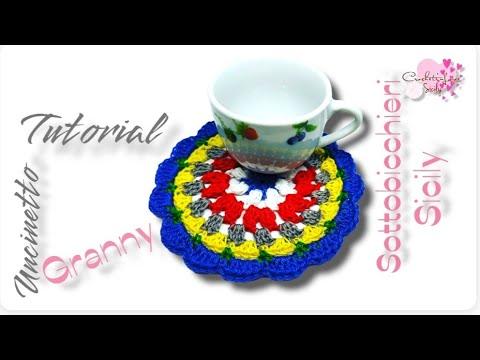 """""""Sottobicchiere uncinetto ,""""GrannySicily"""" centrino, crochet coaster, video tutorial"""
