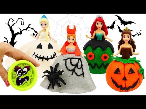 PLAY DOH HALLOWEEN COSTUMES 馃巸 Dress Up for Disney Princess Dolls Elsa and Anna, Ariel, Belle