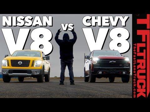 Surprise: Can A 2019 Chevy Silverado Trail Boss Take A Nissan Titan In A Drag Race?