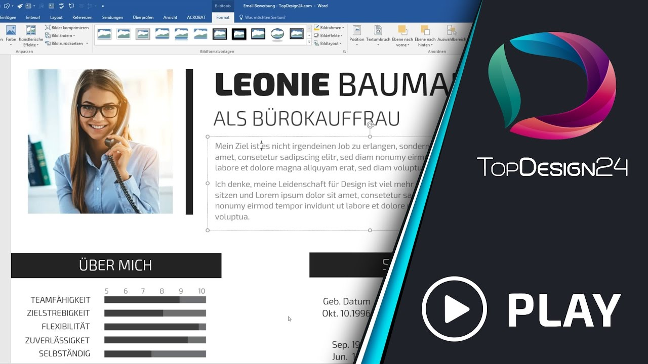 Lebenslauf Tutorial von TopDesign24 - YouTube