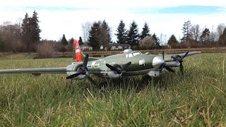 battery adapter test e flite umx b 17 flying fortress rc plane test flight on windy day