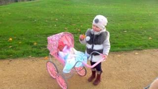 Беби бон Сестренка Настя на прогулки в коляске с Эльвирой и куклой беби бон Катя и с собачкой Лолой