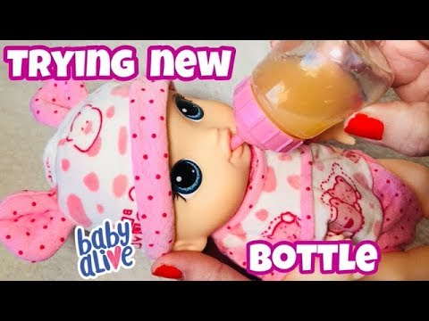 Baby Alive LIL SIPS trying out a new bottle she is sooo tiny