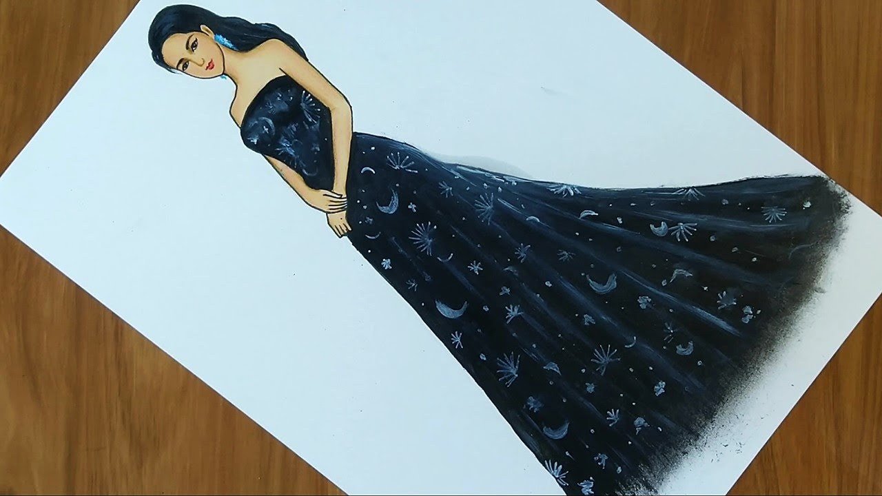 How To Draw A Girl With Beautiful Black Dress Dress Design Drawing Fashion Trends Youtube