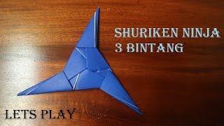 Cara membuat origami bentuk shuriken 3 bintang