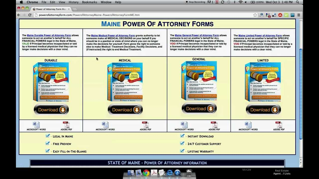 Of Attorney Form Maine