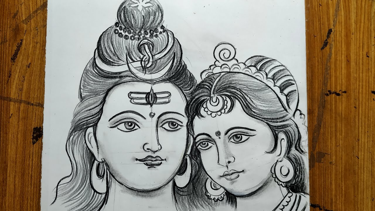 How To Draw Shiv And Parvati Lord Shiva And Maa Parvati Drawing