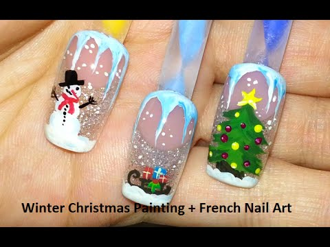 winter christmas painting  french nail art  youtube