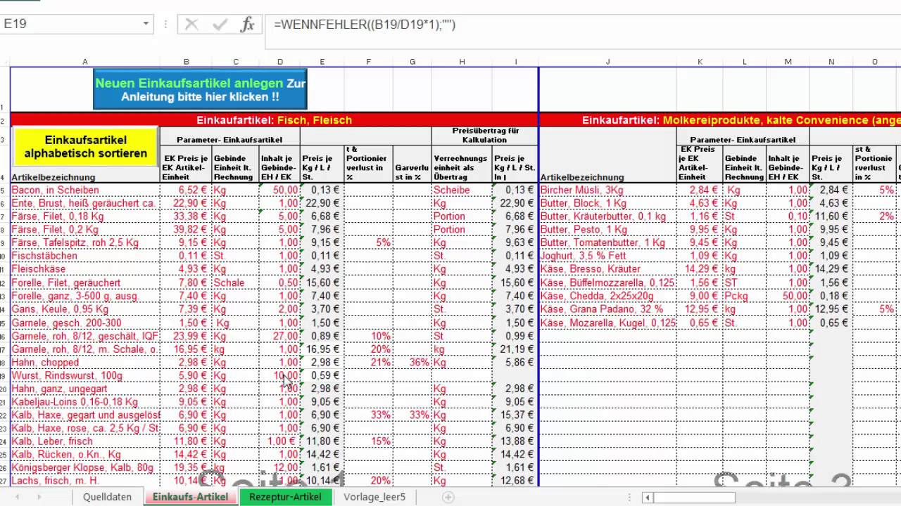 Kalkulation Gastronomie Getränke Excel