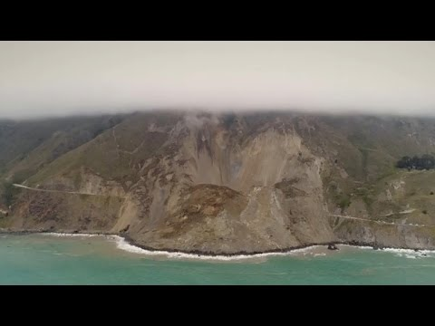 Drone video shows impact of landslide damage to iconic Calif. highway