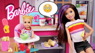 barbie-doll-babysitting-routine-making-miniature-food-with-new-barbie-toys