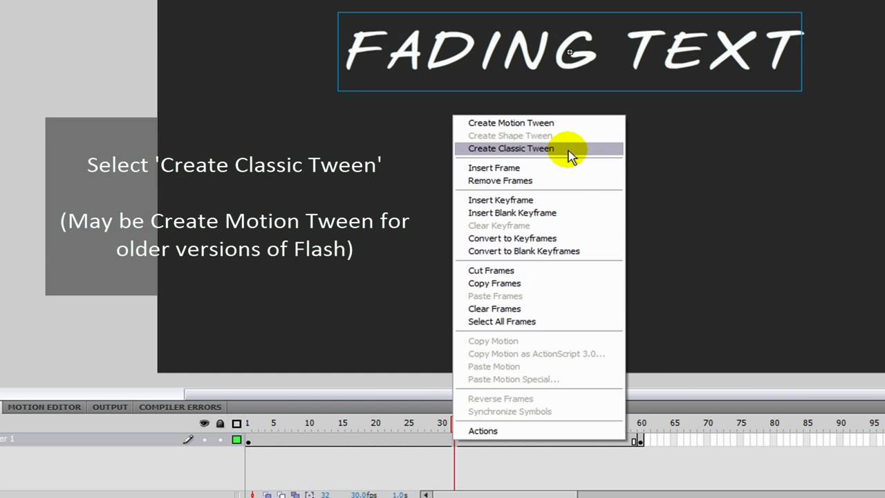 How to make simple fading text/images with Adobe Flash CS4