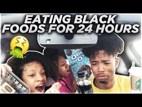 We Only Ate BLACK FOODS For 24HOURS FT. MY TWIN SISTERS!!! (