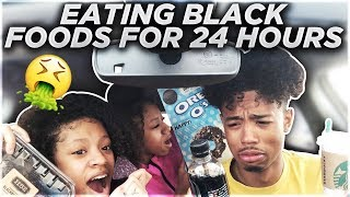 We Only Ate BLACK FOODS For 24HOURS FT. MY TWIN SISTERS!!! (Literally Disgusting ..)