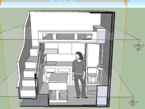 Modelo 2 de apartamentos peque os 3x3x3 youtube for Cortinas para departamentos pequenos