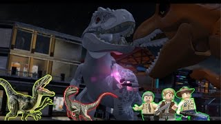 LEGO Jurassic World - T-rex Vs Indominus rex - (CoOp Fight) - On main street [HD]
