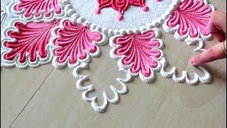 Beautiful rangoli designs with 3 colours l 3 रंगों के साथ आसान और सुंदर रंगोली डिज़ाइन बनाना सीखें