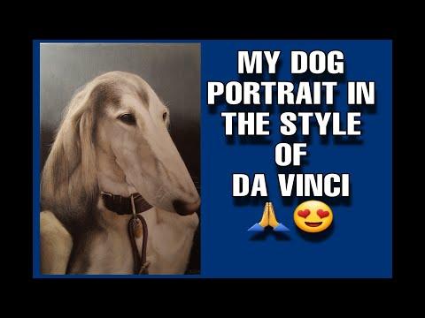 Realistic dog drawing. Pet portrait of Oz the Saluki dog