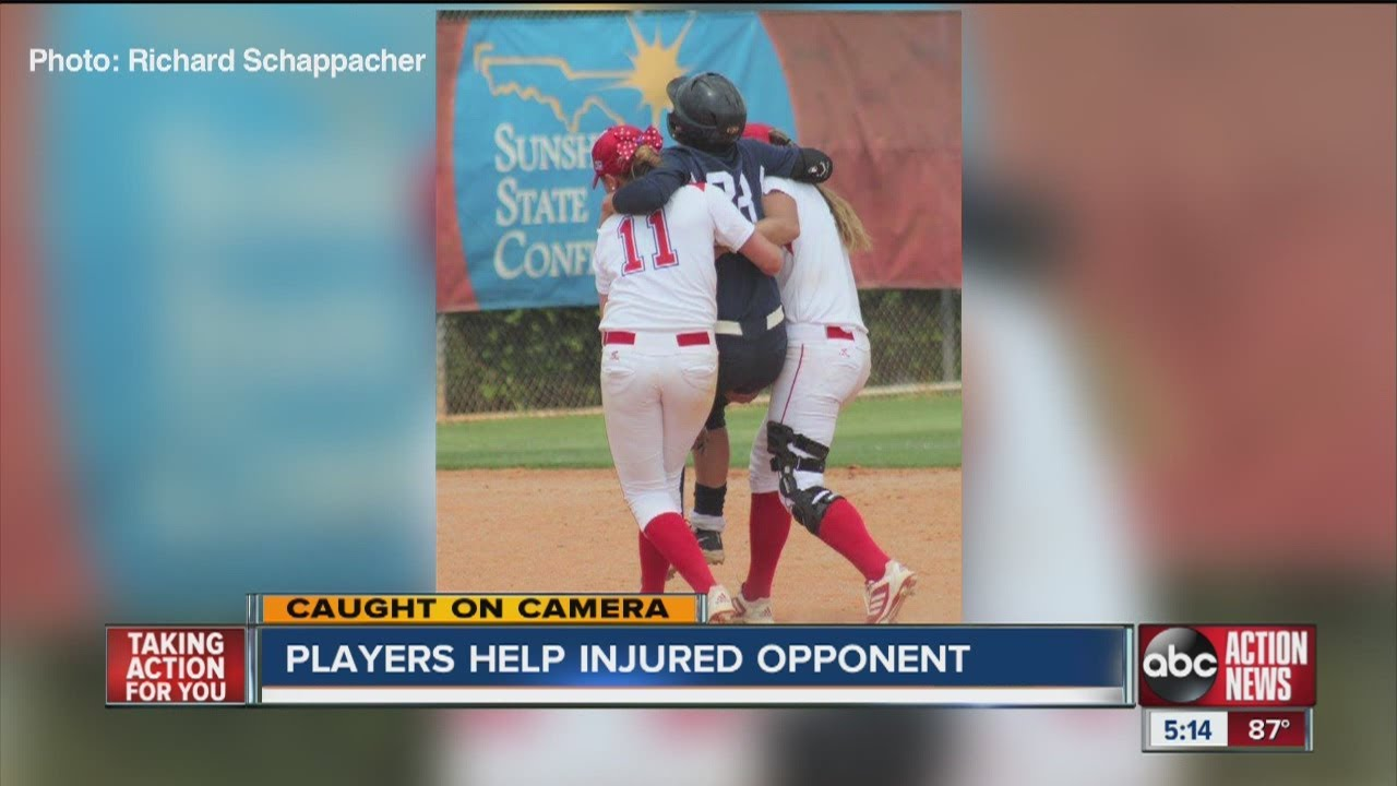 A college softball player went to the hospital after her own teammate's throw hit her in the face